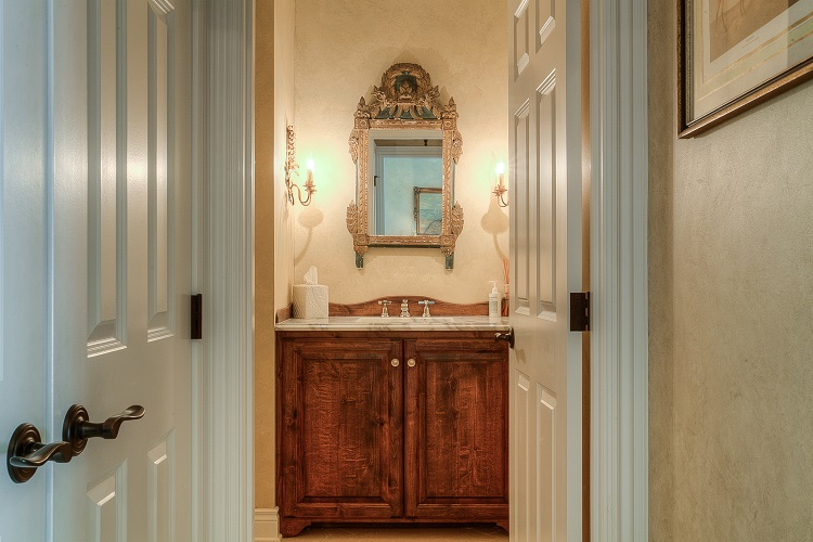 formal powder bath in custom home