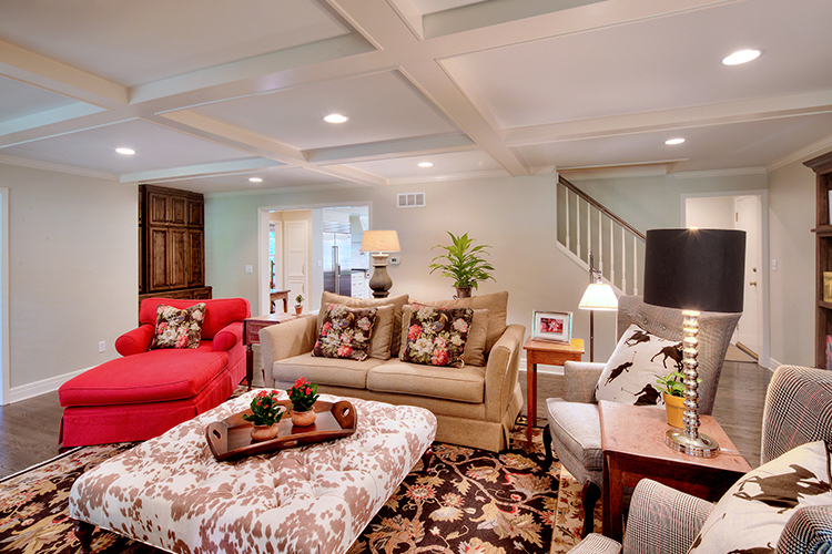 coffered ceiling in rhinehart living room