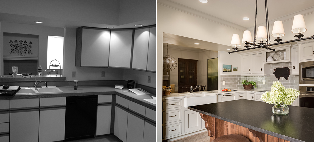 before and after of a 1980s townhome to brand new kitchen