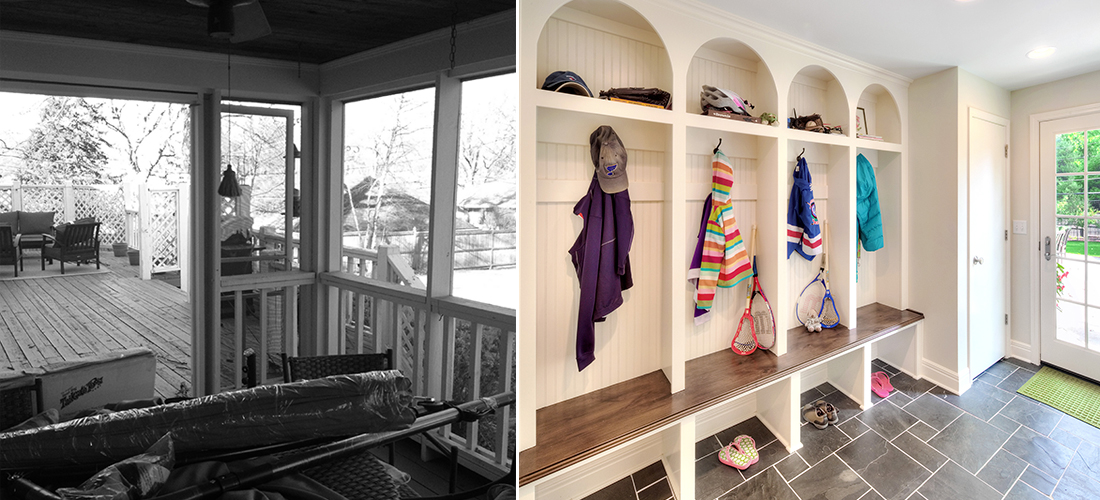 before and after of a dilapidated screened in porch turned mudroom
