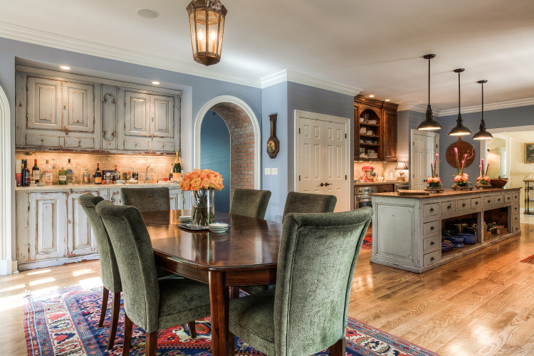 Breakfast room open to the kitchen in this Scovell Wolfe & Associates custom built house