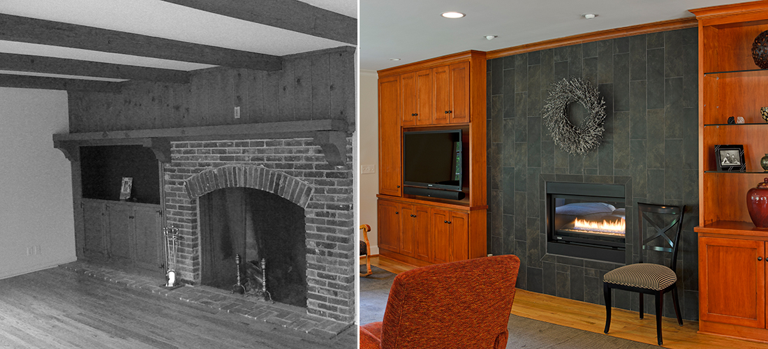 before and after of a refaced fireplace with built-ins