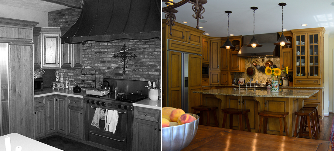 mission hills before and after kitchen from faux brick to granite slab backsplash