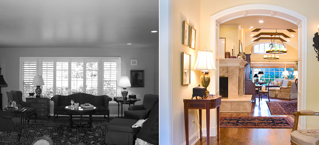 before and after of a mission hills living room addition with vaulted ceilings