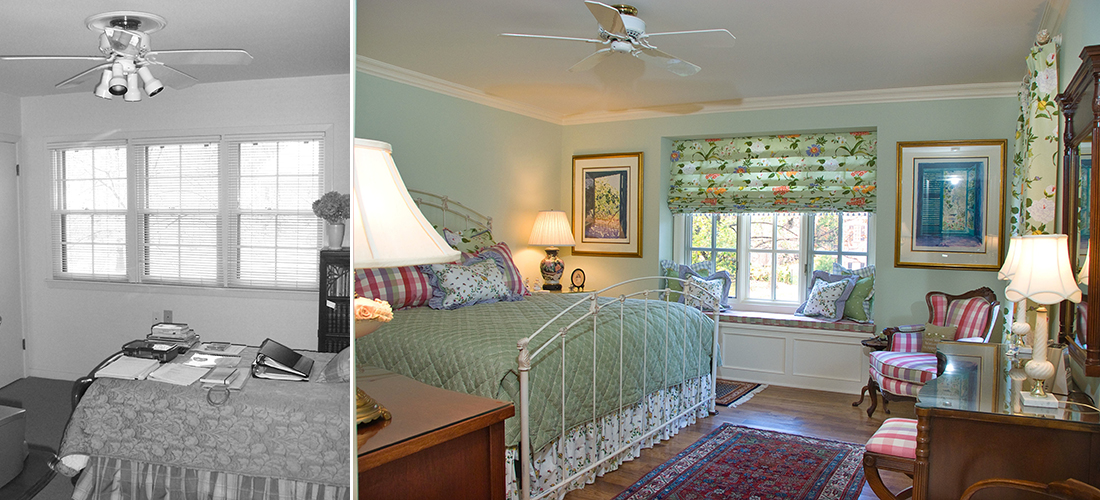 before and after of a front guest bedroom with new windows and window seat, crown molding and paint