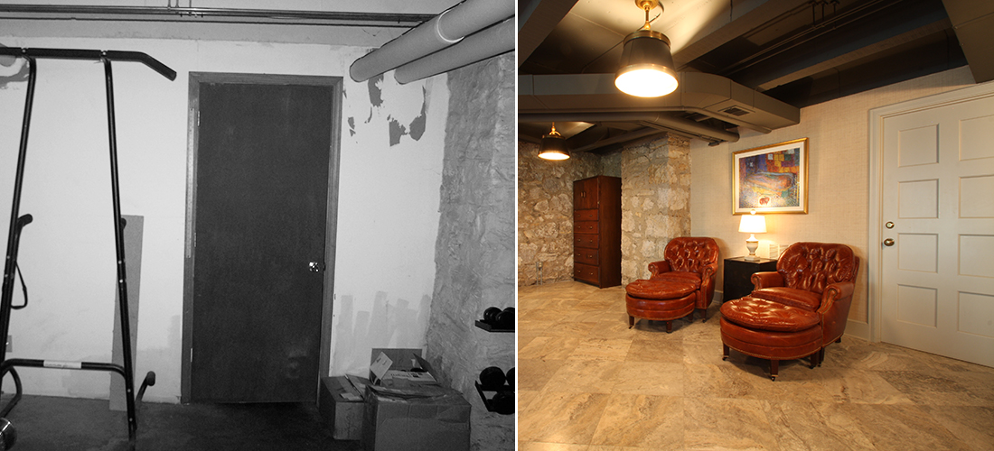 before and after basement garage conversion