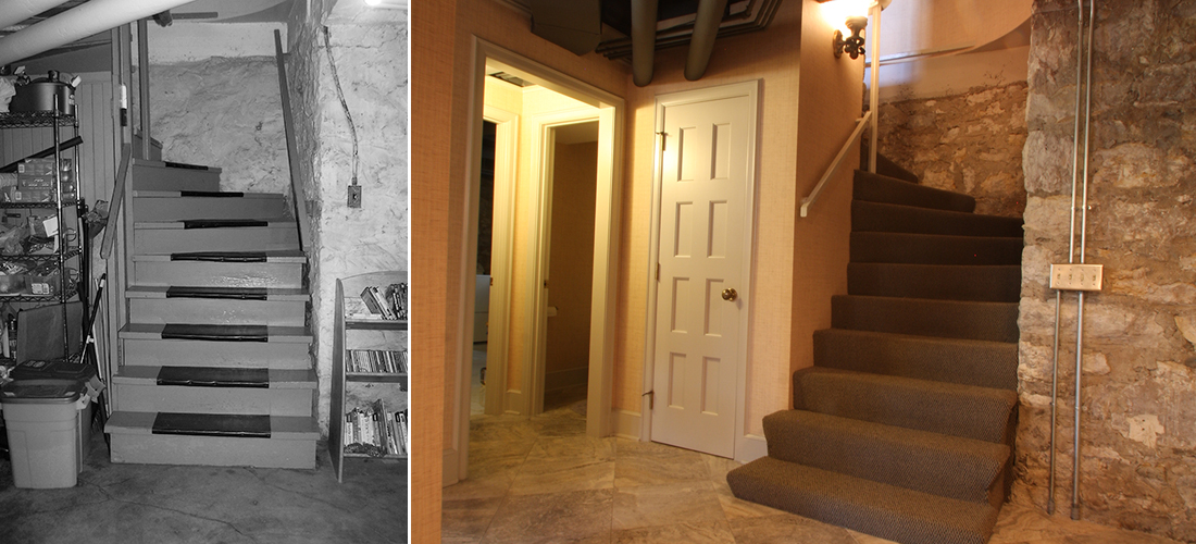 before and after basement stairs
