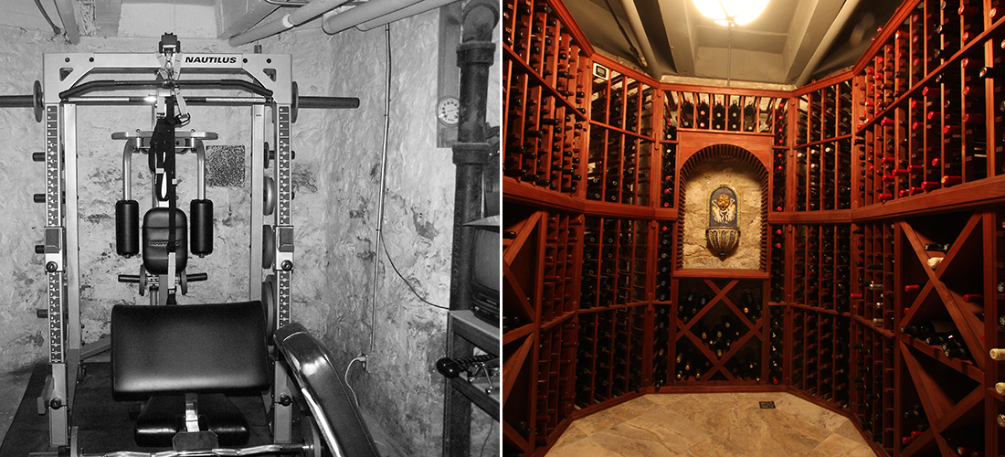 before and after unfinished work out room to wine cellar