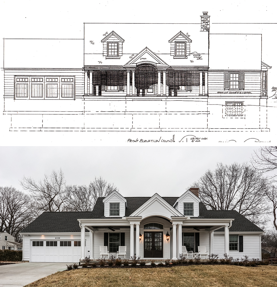 comparison of architectural blue print for the south elevation and after photograph