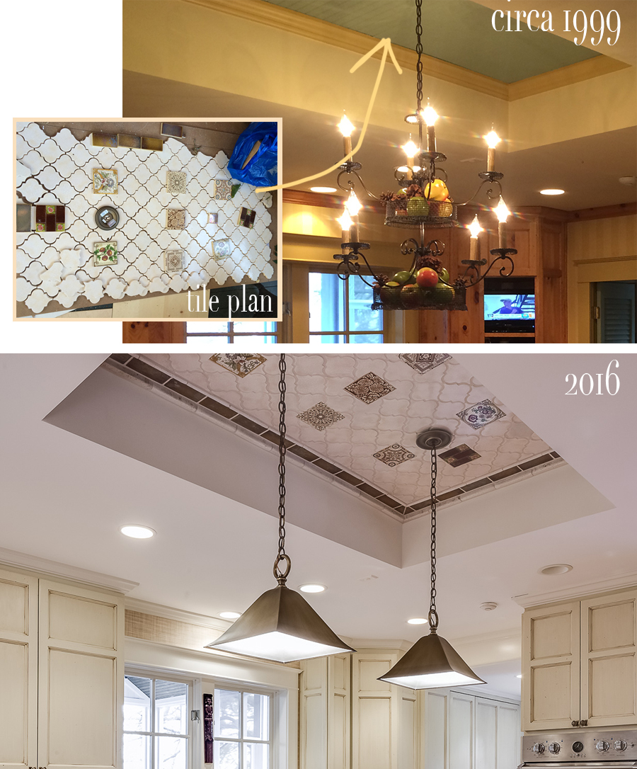 ceiling before and after with mosaic antique tile pattern