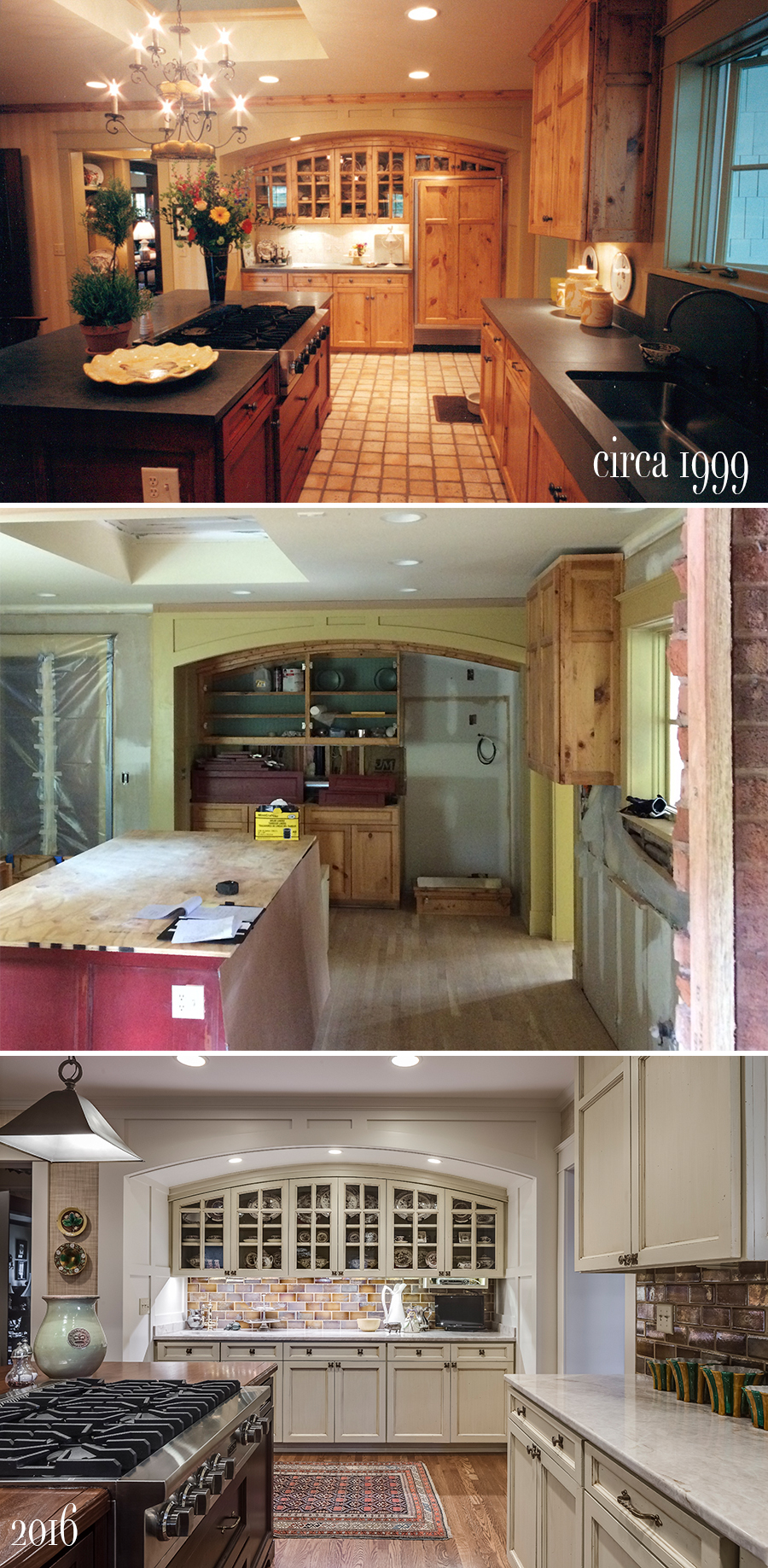 before, progress and after of scovell wolfe remodeled kitchen with retrofitted cabinetry