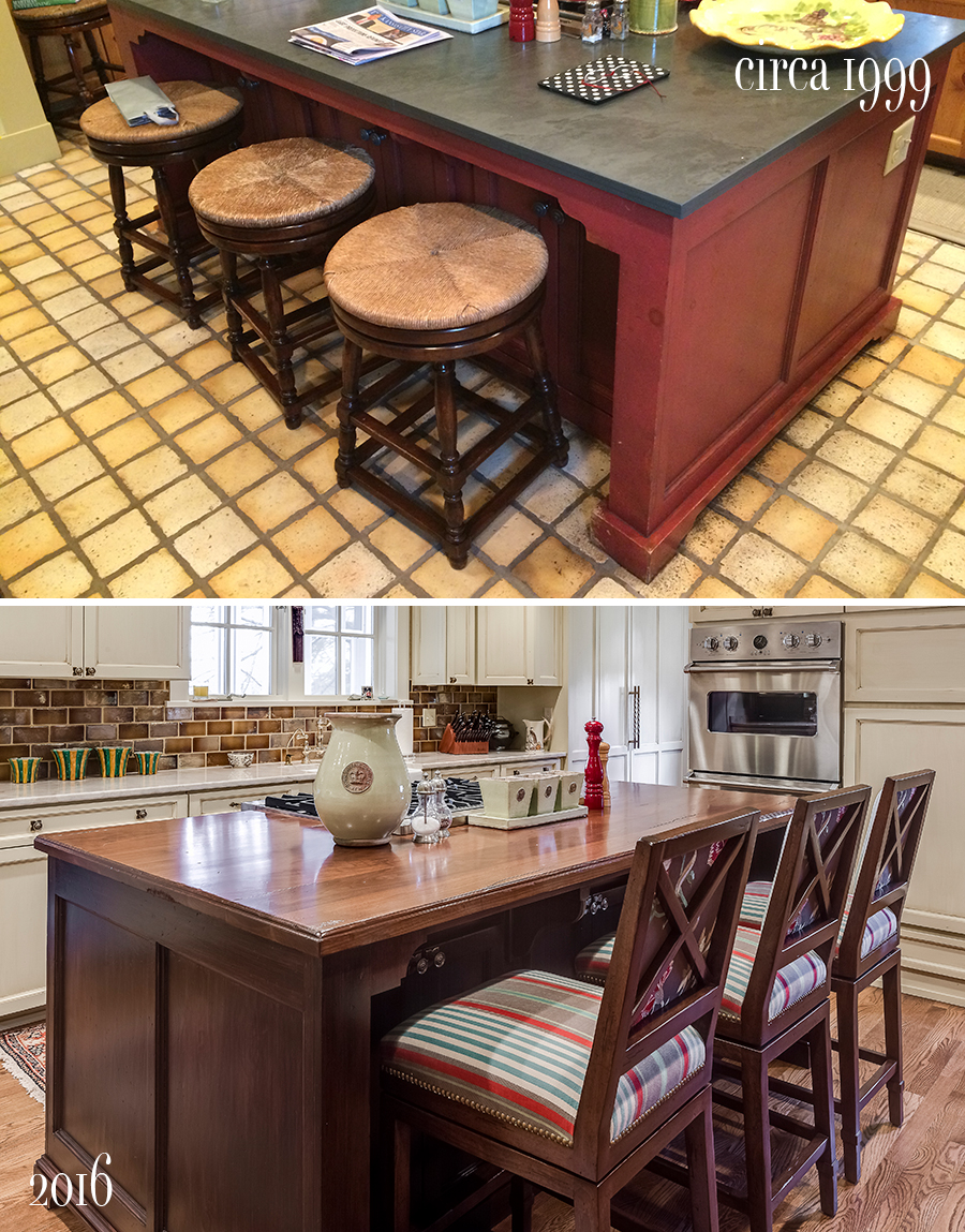 walnut island before and after with new hardwood floors and upholstered barstools by nancy ruzicka design