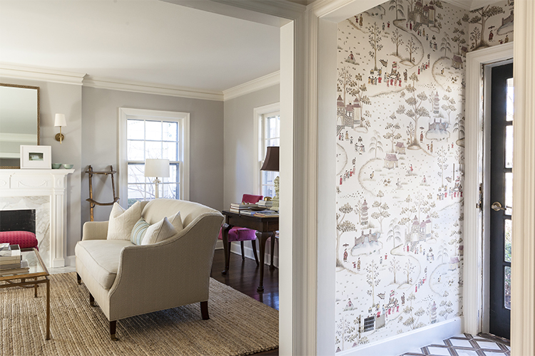 entryway with cathay parade wallpaper