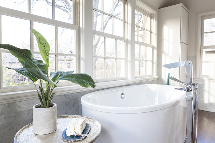 free standing tub in scovell wolfe designed bathroom