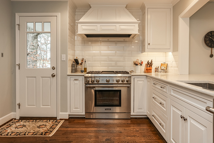 custom hood in kitchen by scovell wolfe