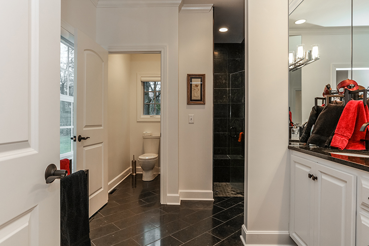 modern black bathroom in prairie village new build