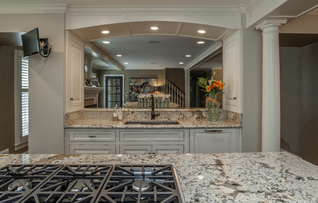 custom remodeled open concept kitchen with granite countertops