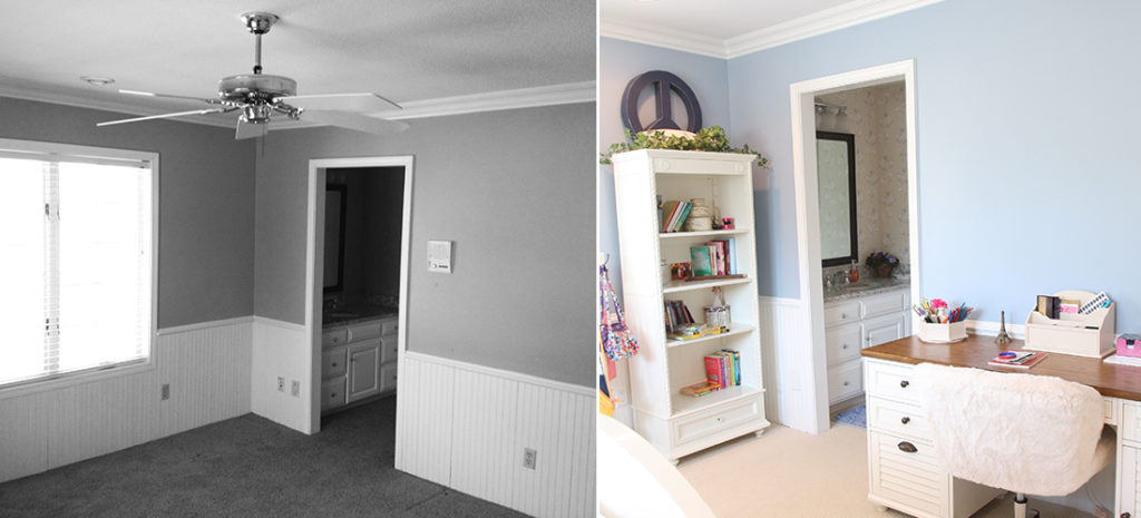 before and after of a tween girl's bedroom