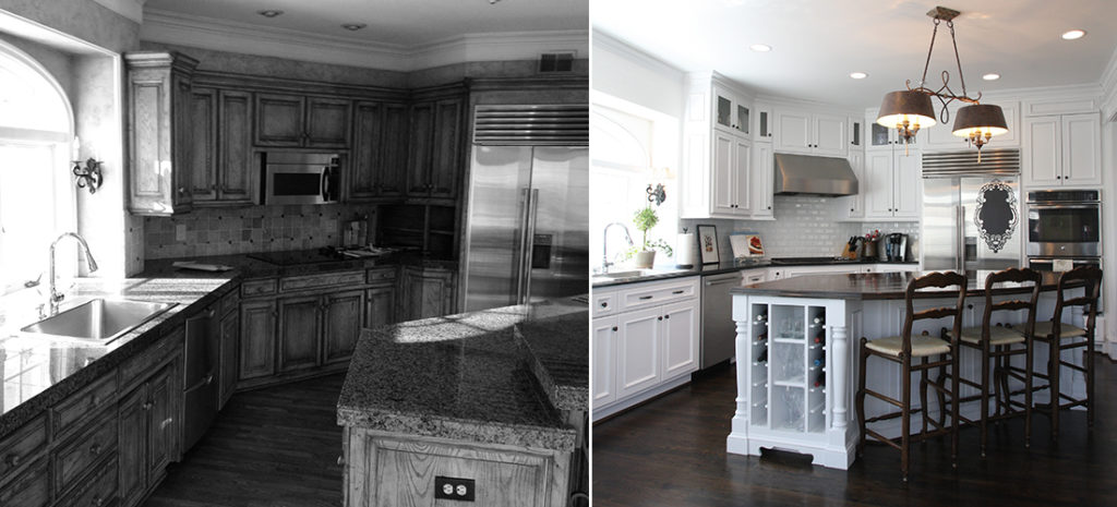 before and after of dated hallbrook kitchen with new cabinets, hardwoods and paint