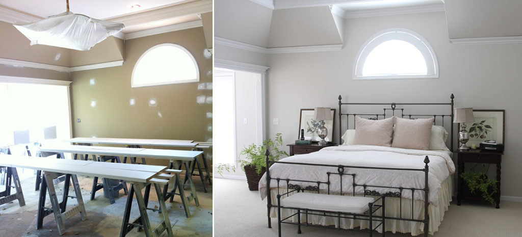 master bedroom before and after with new athena paint