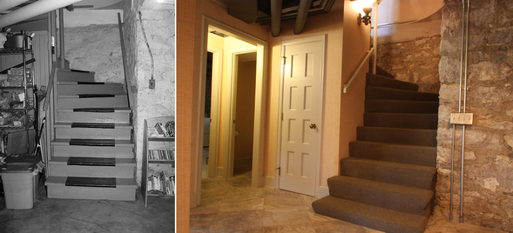 before and after of basement stairs