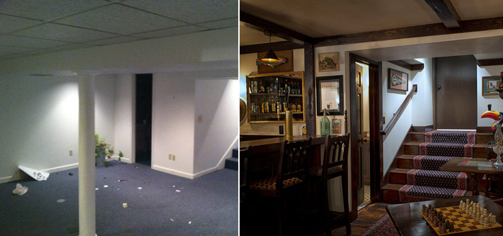 before and after of a transformed basement into an irish pub inspired living space