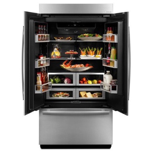 interior of the jenn air obsidian refrigerator with black interior