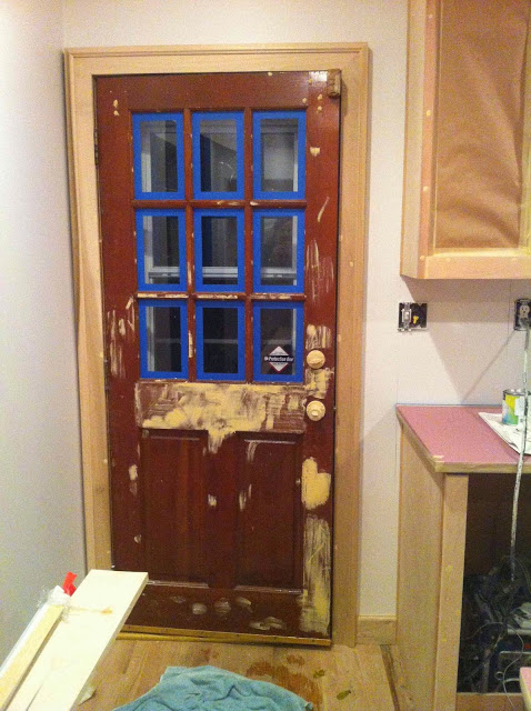 scovell wolfe prepping the old door for new paint