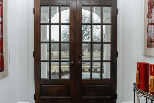 stained french doors with a view to Porter park in Prairie Village, Kansas