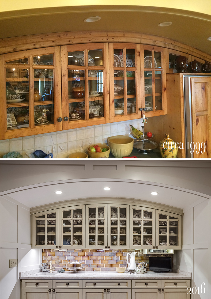 curved cabinetry detail with glass paned doors and euphoria glaze tile backsplash