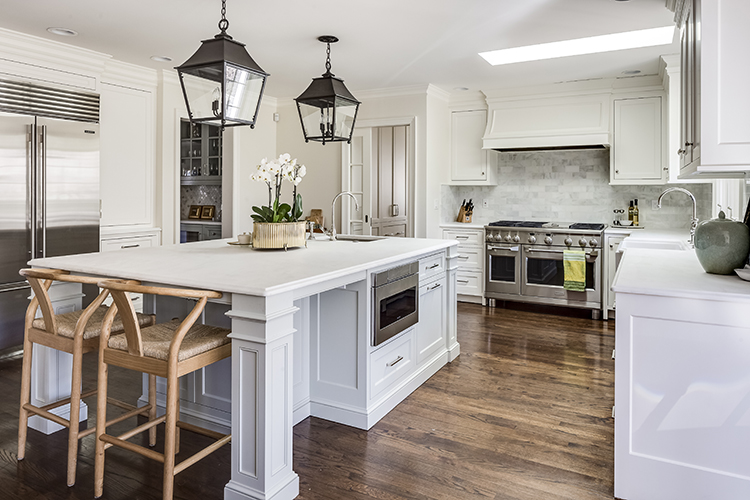kitchen remodel with large eat-in island after by scovell wolfe