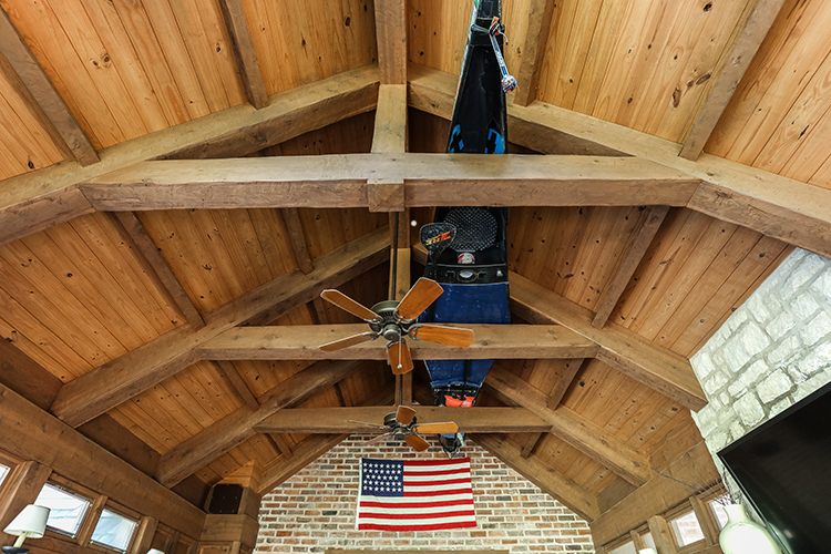 vaulted ceiling of mission hills screened in porch by scovell wolfe