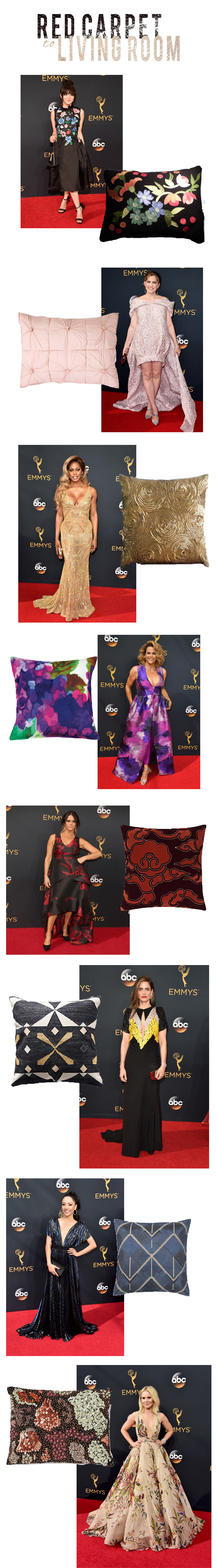 red carpet dresses to pillows