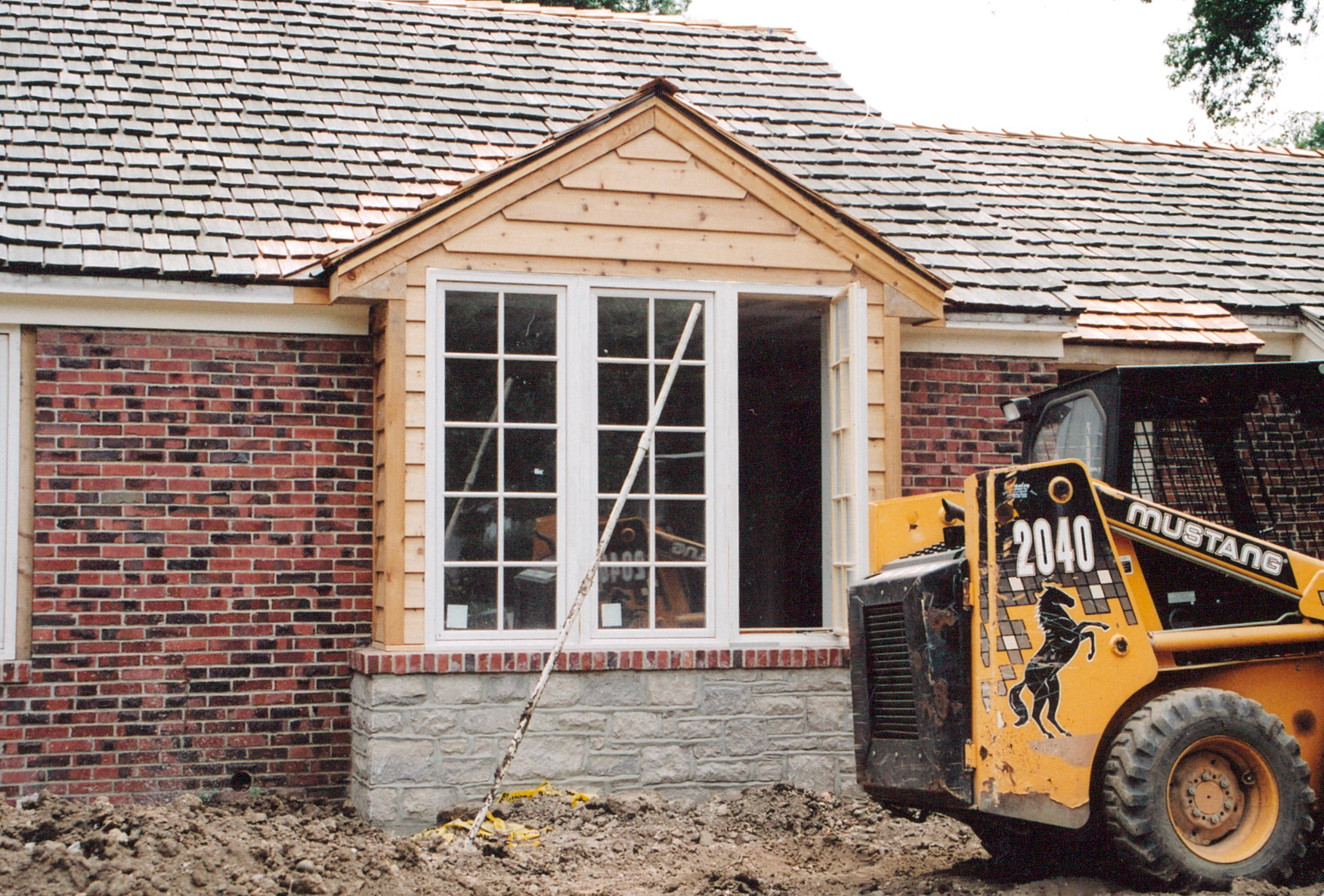 window construction on exterior of home