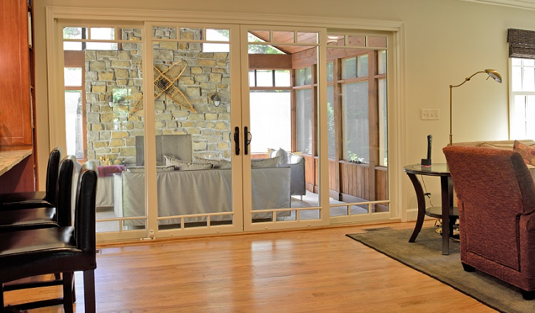 french doors sliding to porch