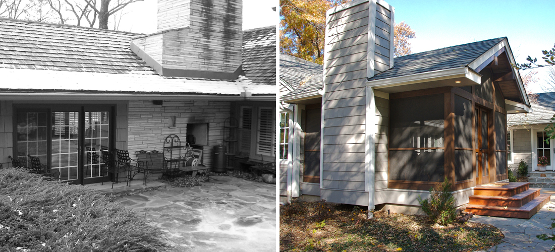 before and after of an added screened-in porch