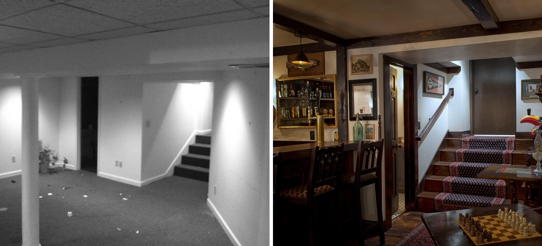 before and after of a dated basement turned irish pub style bar