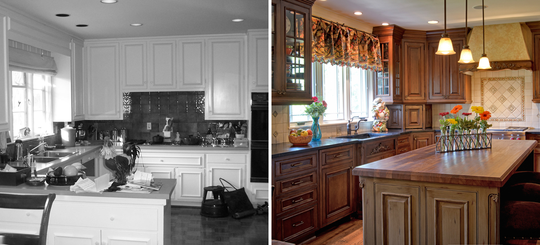 before and after of a dated kitchen