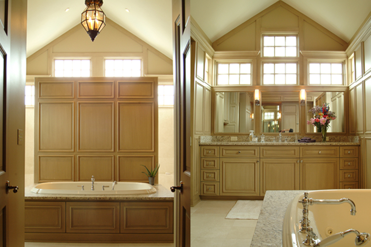 award winning master bathroom with vaulted ceiling