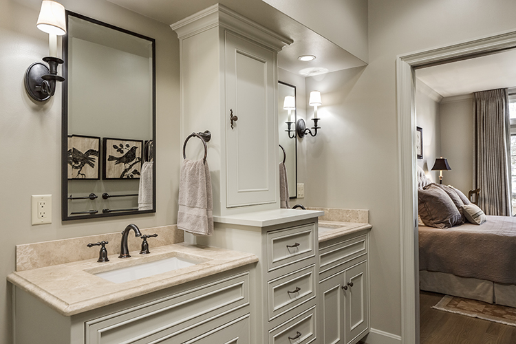 custom vanity with double sink and dividing tower