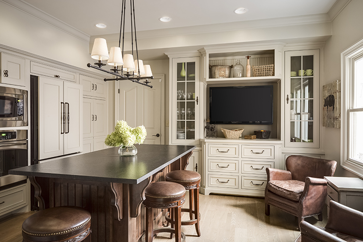 scovell wolfe remodeled townhome kitchen with built in entertainment center