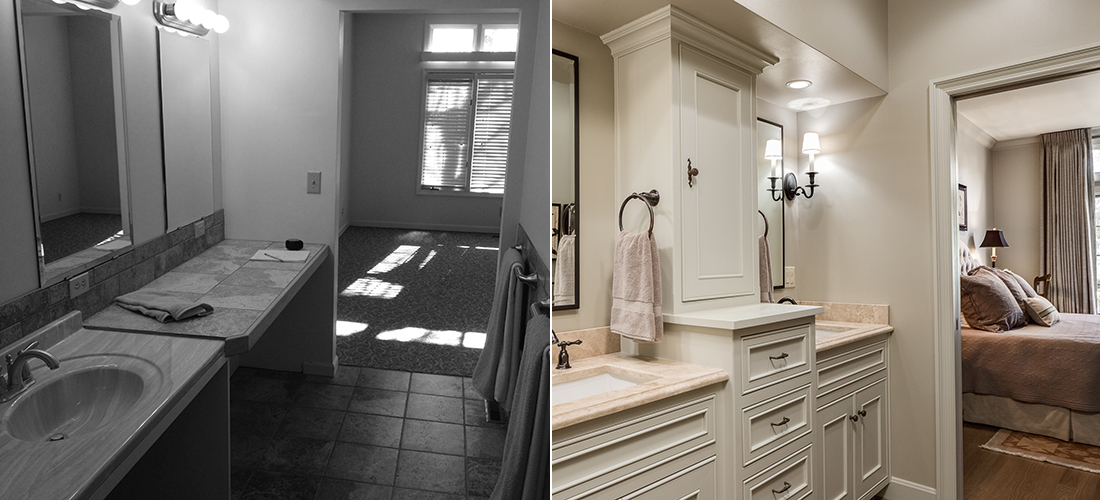 before and after of a handicap townhome bathroom to gorgeous master en suite