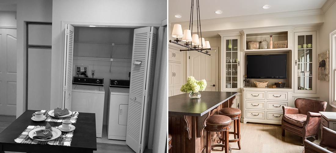 before and after of a laundry closet turned entertainment center in the kitchen