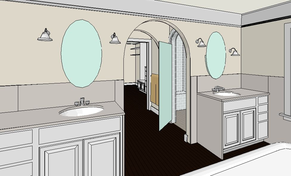Scovell Wolfe's design sketch of the new walk-in shower behind the vanity