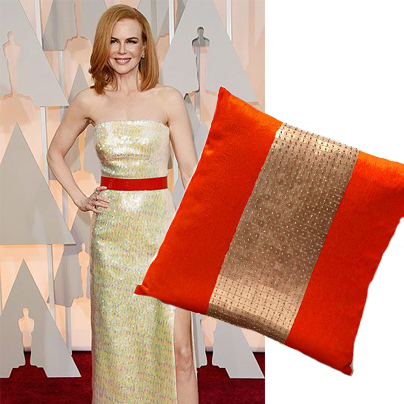 nicole kidmans oscar dress and matching throw pillow
