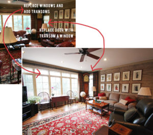 before and after of living room with transom windows