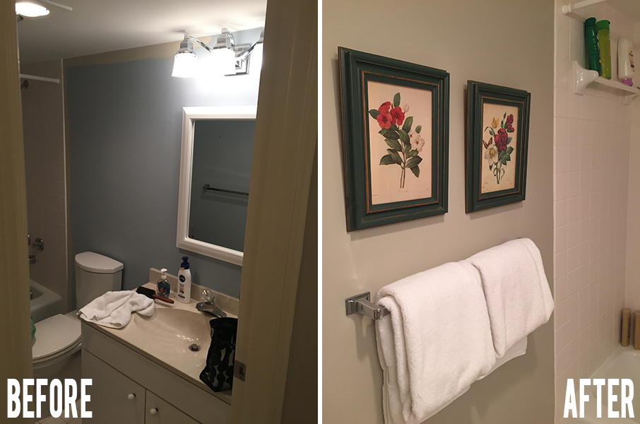 condo bathroom before and after painting