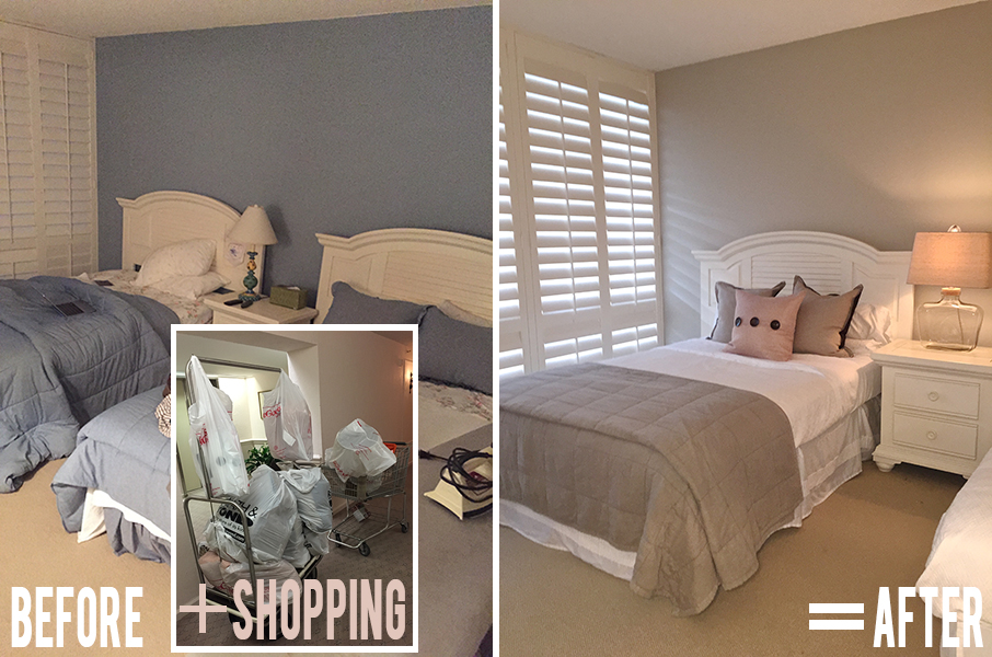 florida condo guest bedroom before and after