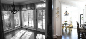before and after of breakfast room with new paint and window treatments