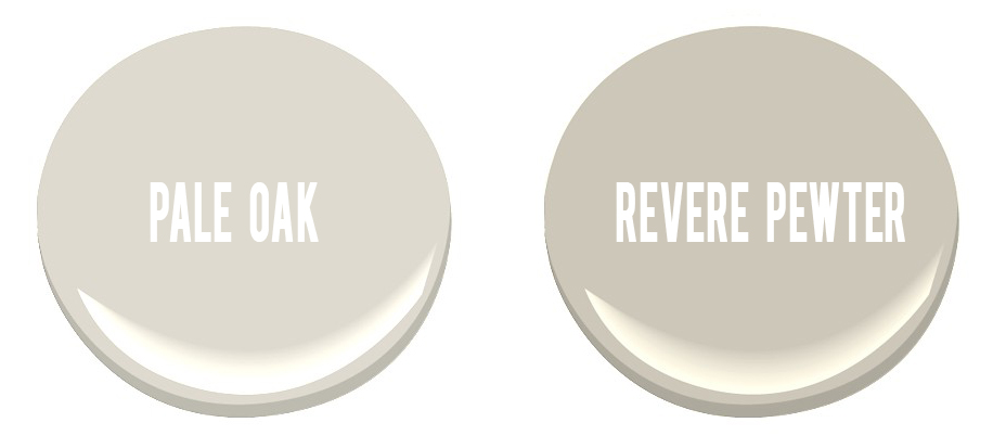 benjamin moore paint colors - pale oak and revere pewter